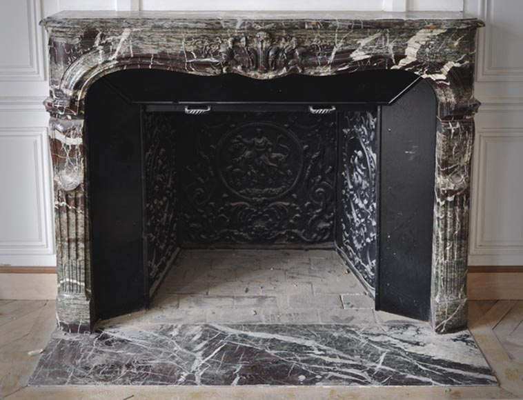 Beautiful antique Regence style fireplace in Campan Grand Melange marble, 19th c.-0