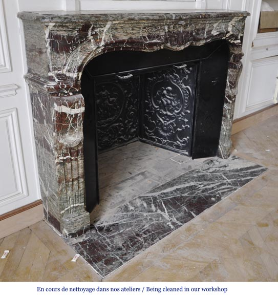 Beautiful antique Regence style fireplace in Campan Grand Melange marble, 19th c.-4