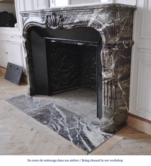 Beautiful antique Regence style fireplace in Campan Grand Melange marble, 19th c.-8
