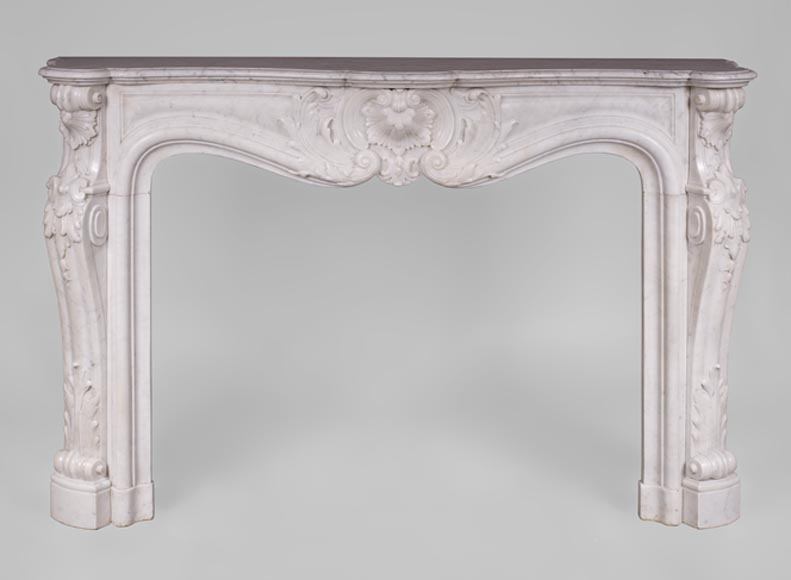 Beautiful antique Louis XV style fireplace with rich decor in white Carrara marble - Reference 3160