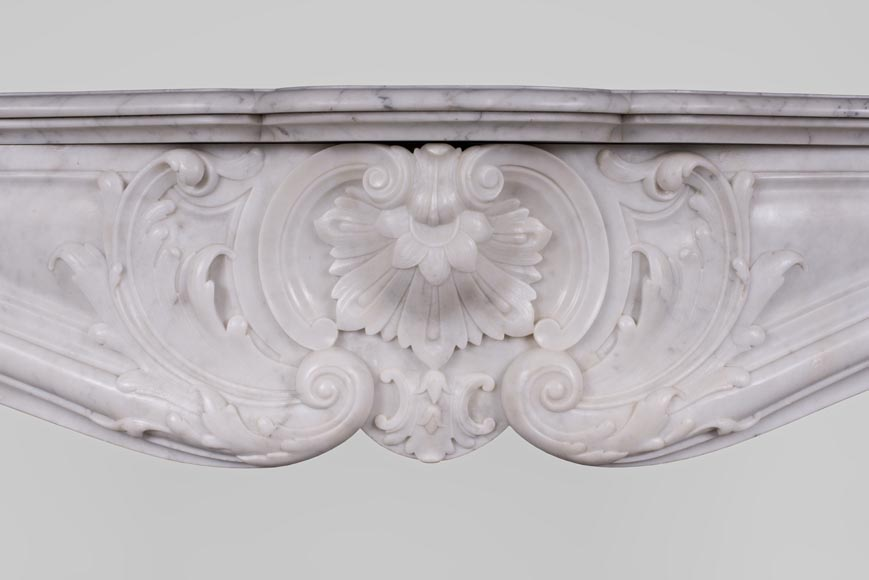 Beautiful antique Louis XV style fireplace with rich decor in white Carrara marble-1