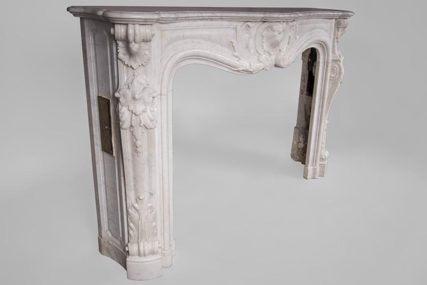 Beautiful antique Louis XV style fireplace with rich decor in white Carrara marble-3