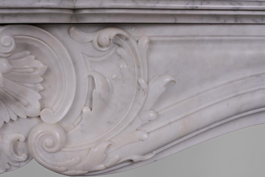 Beautiful antique Louis XV style fireplace with rich decor in white Carrara marble-4