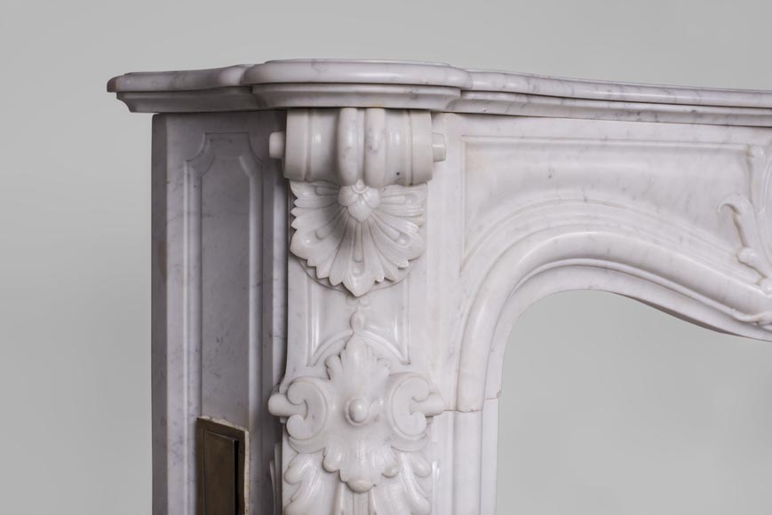 Beautiful antique Louis XV style fireplace with rich decor in white Carrara marble-5