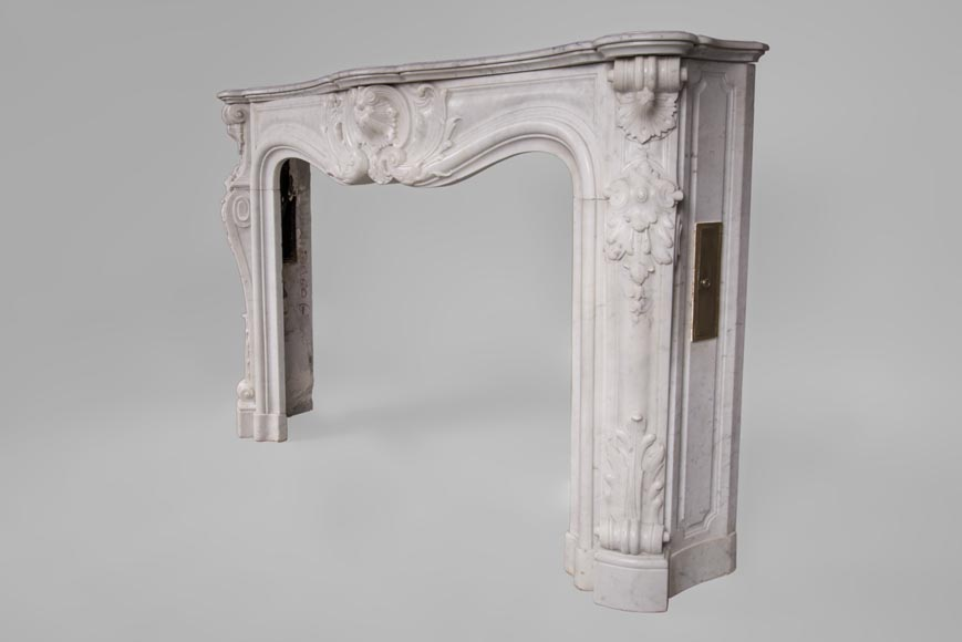 Beautiful antique Louis XV style fireplace with rich decor in white Carrara marble-7