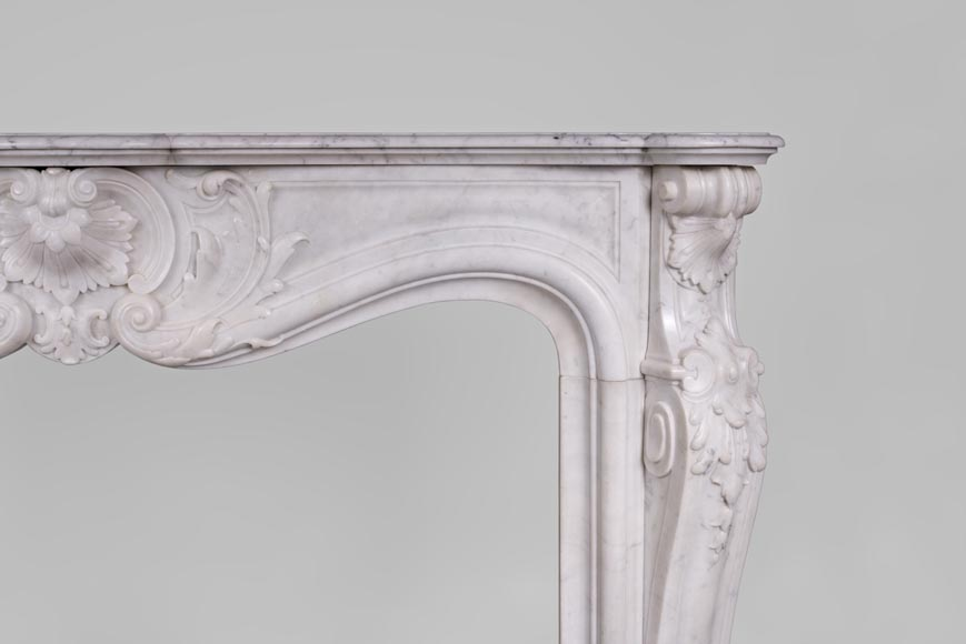 Beautiful antique Louis XV style fireplace with rich decor in white Carrara marble-8