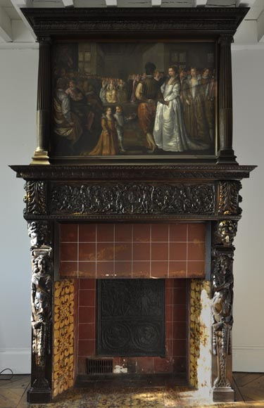 Important antique carved walnut fireplace with painting from the 17th century after Giovanni Andrea CASELLA-0