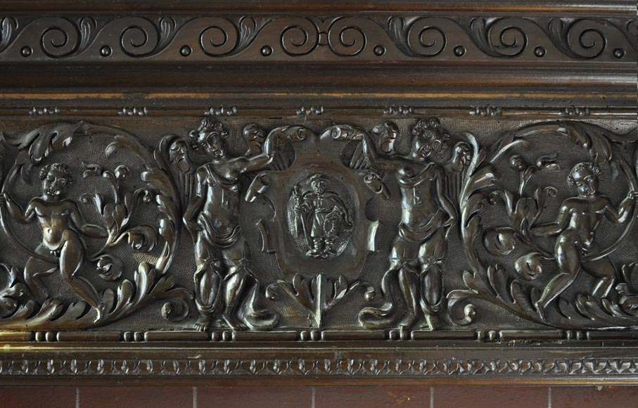 Important antique carved walnut fireplace with painting from the 17th century after Giovanni Andrea CASELLA-5