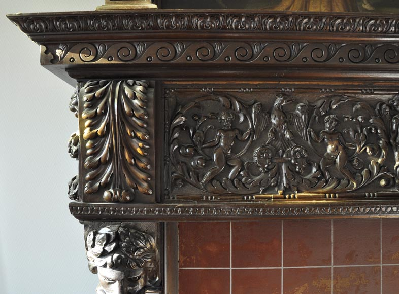 Important antique carved walnut fireplace with painting from the 17th century after Giovanni Andrea CASELLA-7
