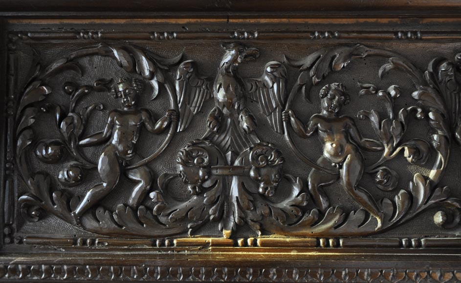 Important antique carved walnut fireplace with painting from the 17th century after Giovanni Andrea CASELLA-8