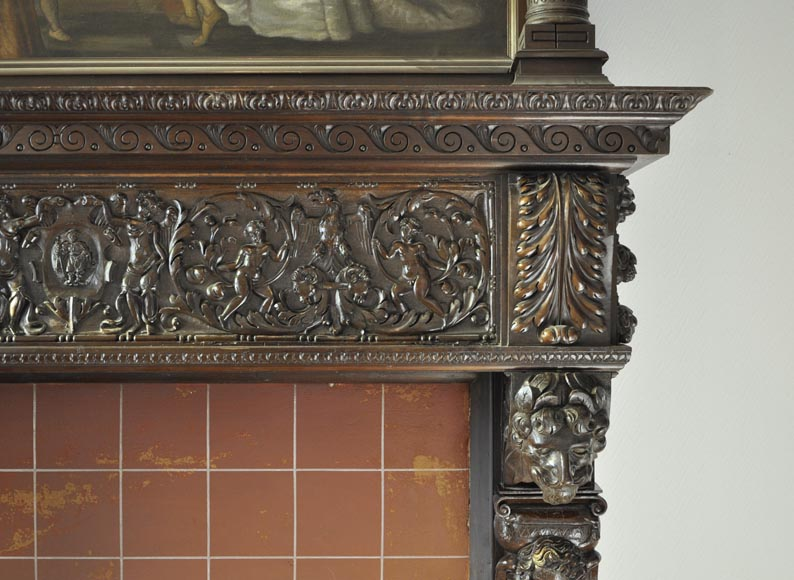 Important antique carved walnut fireplace with painting from the 17th century after Giovanni Andrea CASELLA-13