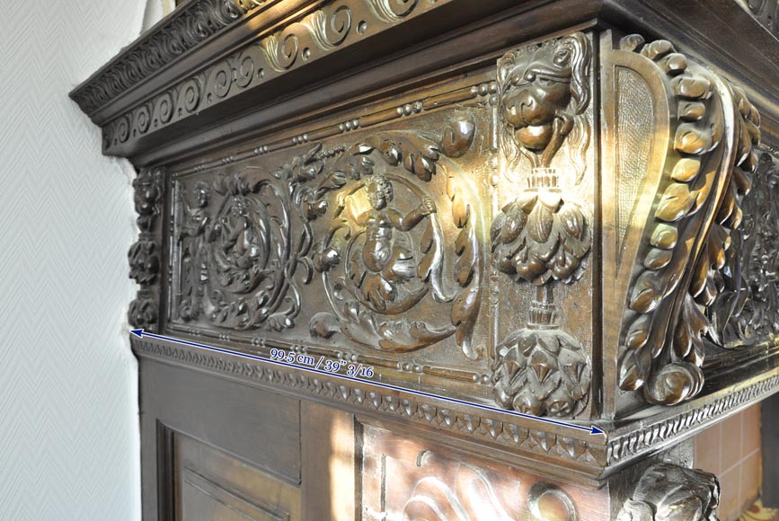 Important antique carved walnut fireplace with painting from the 17th century after Giovanni Andrea CASELLA-16