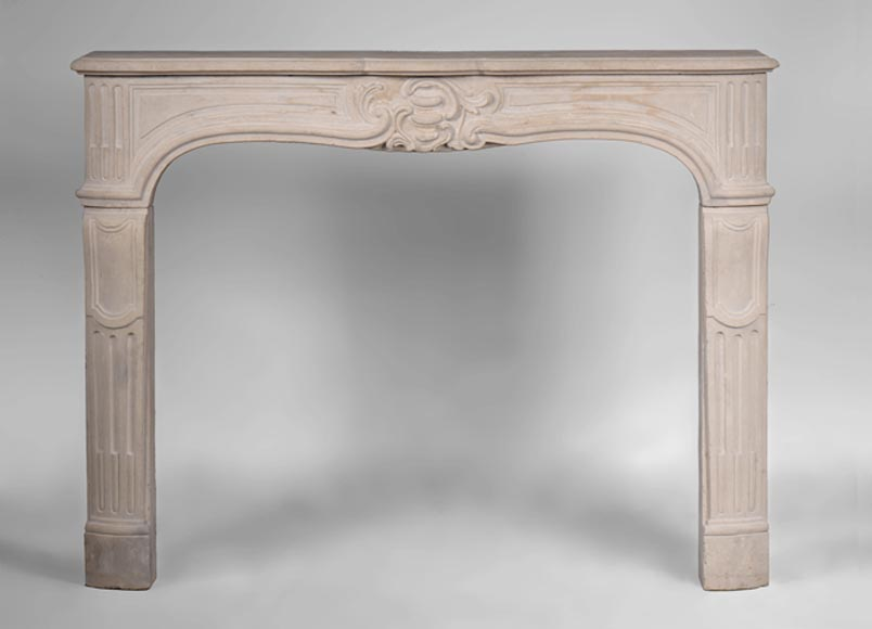 Antique Louis XV period stone fireplace with asymetrical shell - Reference 3166