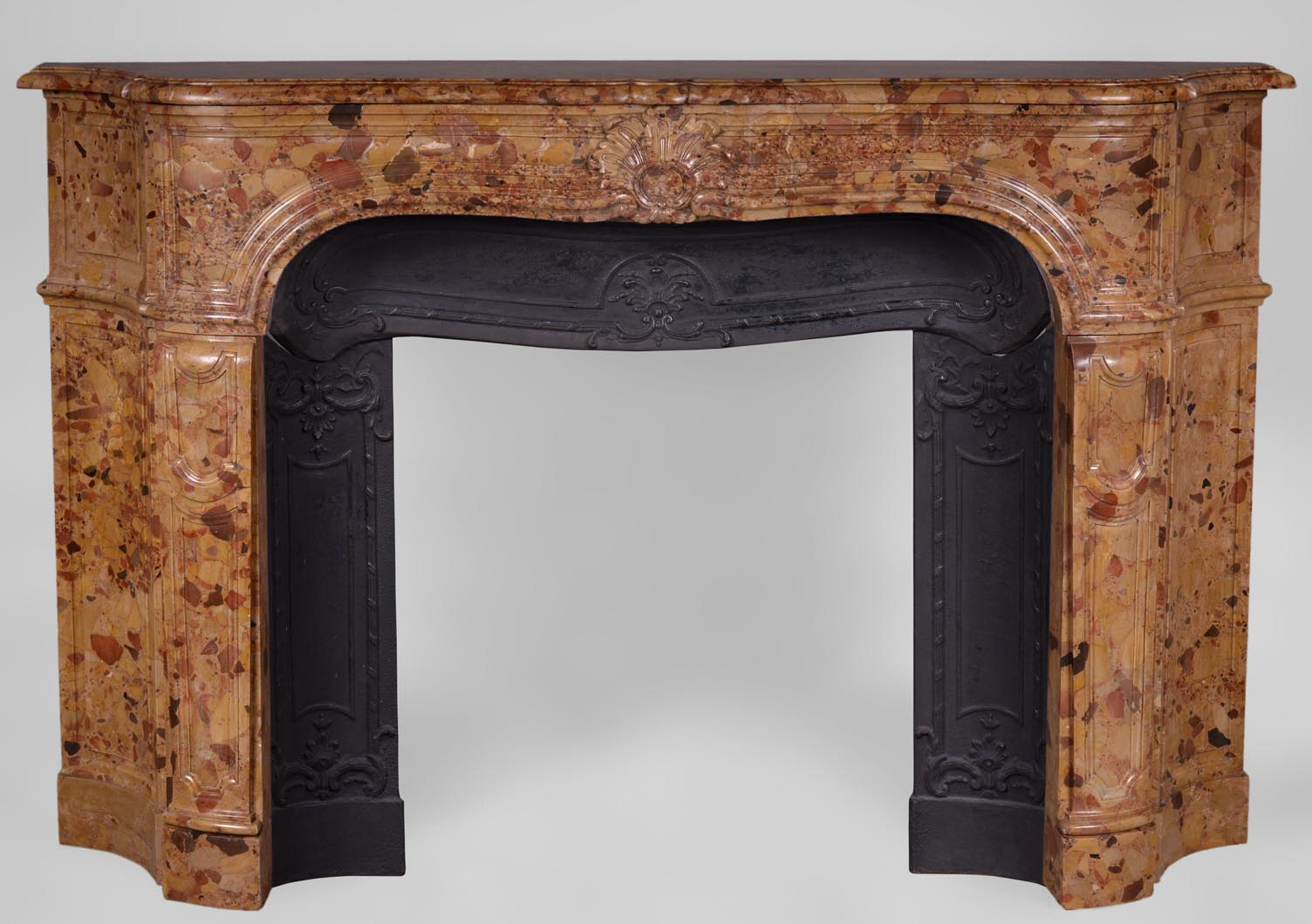 rare antique regence period fireplace in aleppo breccia marble