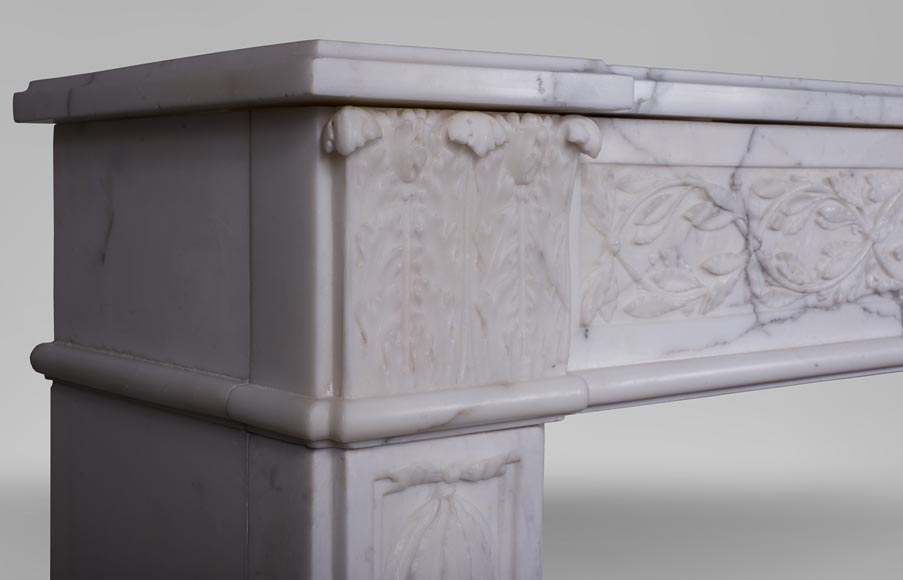 An antique Louis XVI fireplace, made out of veiné-statuary marble-5