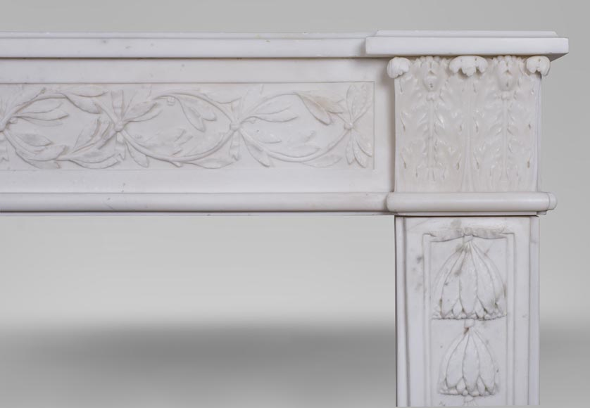An antique Louis XVI fireplace, made out of veiné-statuary marble-9