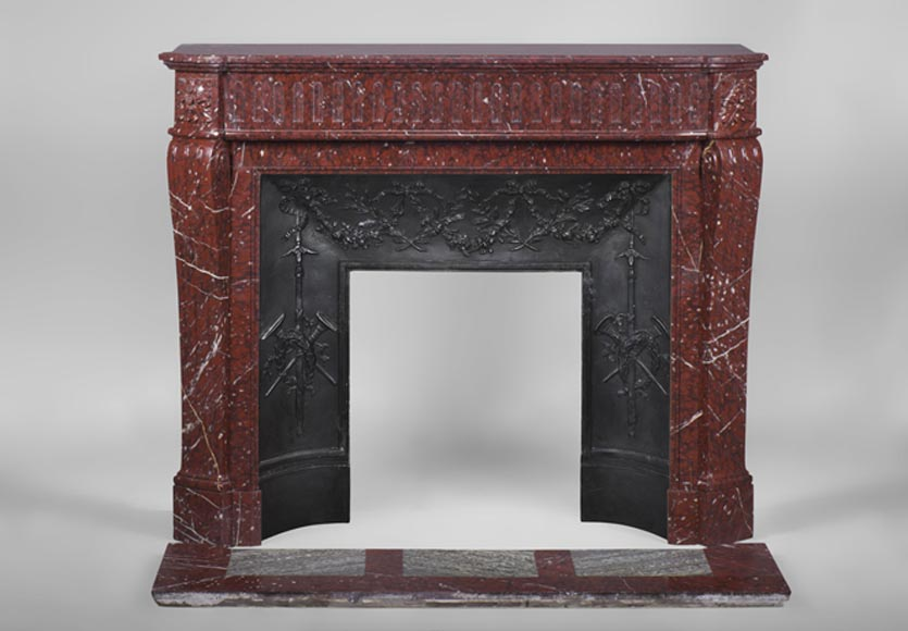 Beautiful Louis XVI Style Fireplace mantel, in Red Griotte Marble with flutings decor - Reference 3178