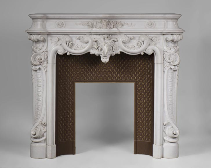 Exceptional antique Louis XV style fireplace in Statuary Carrara marble, circle of Jules Cantini - Reference 3180