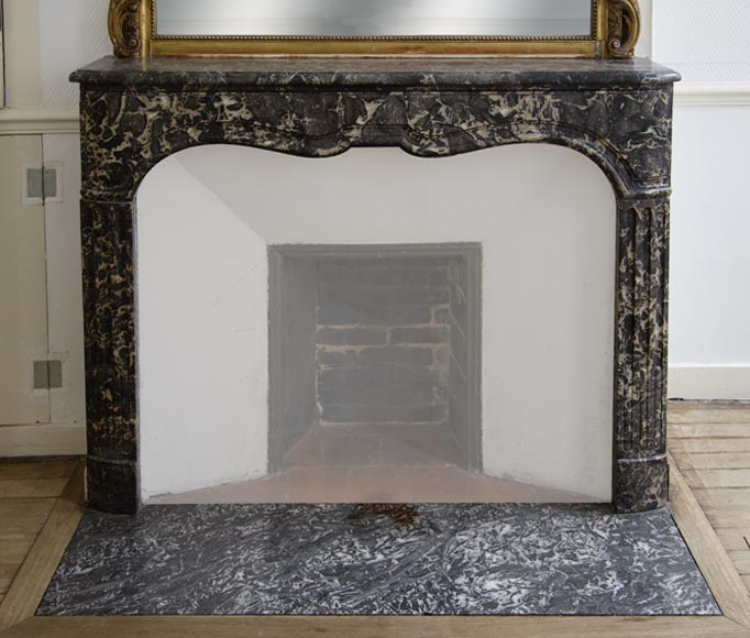 Antique Regency period fireplace in Grey Sainte Anne marble, 18th c.-0