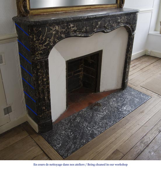 Antique Regency period fireplace in Grey Sainte Anne marble, 18th c.-2