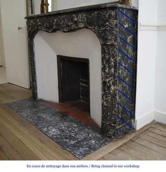 Antique Regency period fireplace in Grey Sainte Anne marble, 18th c.-4