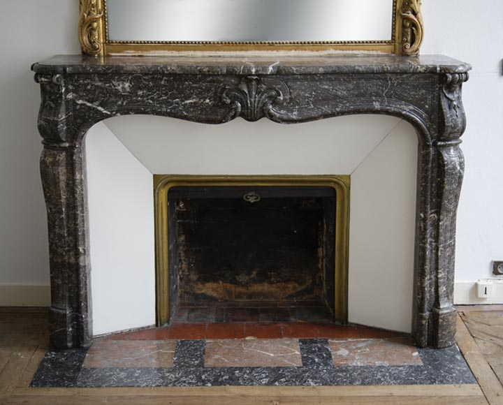 Antique Louis XV period fireplace in Grey Sainte Anne marble, 18th century-0