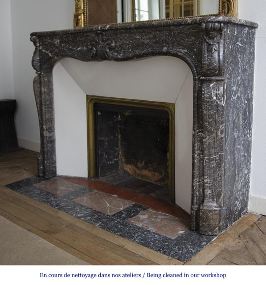 Antique Louis XV period fireplace in Grey Sainte Anne marble, 18th century-4