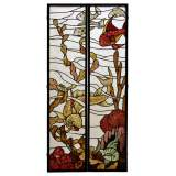 Beautiful pair of stained glass windows with japanese style decor of Koi carps, late 19th century