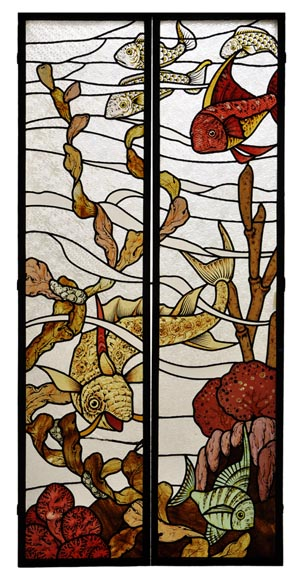 Beautiful pair of stained glass windows with japanese style decor of Koi carps, late 19th century-0