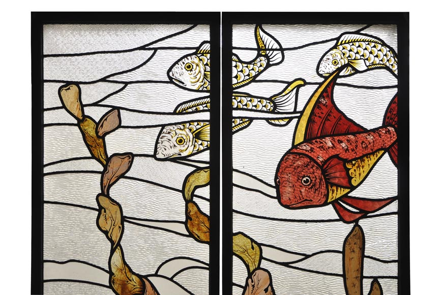 Beautiful pair of stained glass windows with japanese style decor of Koi carps, late 19th century-1
