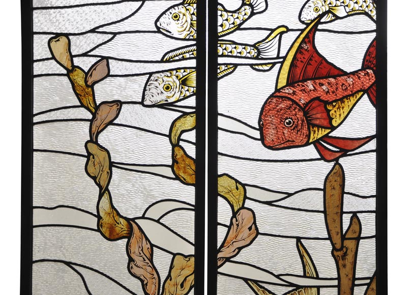 Beautiful pair of stained glass windows with japanese style decor of Koi carps, late 19th century-2