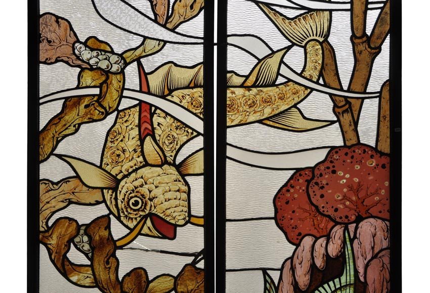 Beautiful pair of stained glass windows with japanese style decor of Koi carps, late 19th century-4