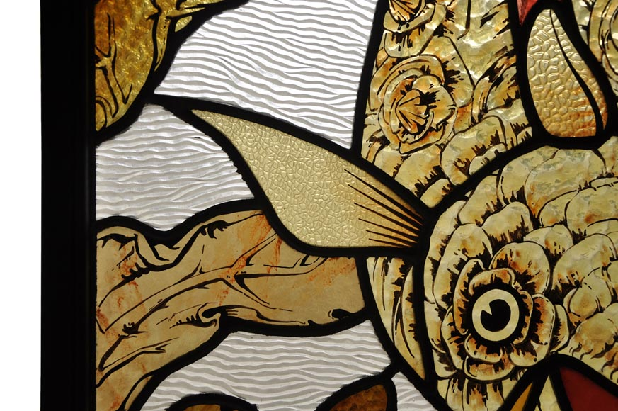 Beautiful pair of stained glass windows with japanese style decor of Koi carps, late 19th century-6