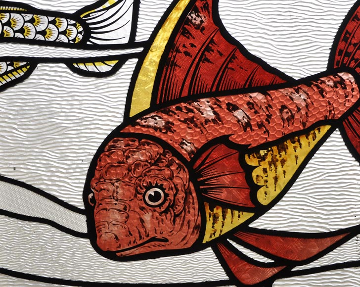 Beautiful pair of stained glass windows with japanese style decor of Koi carps, late 19th century-9
