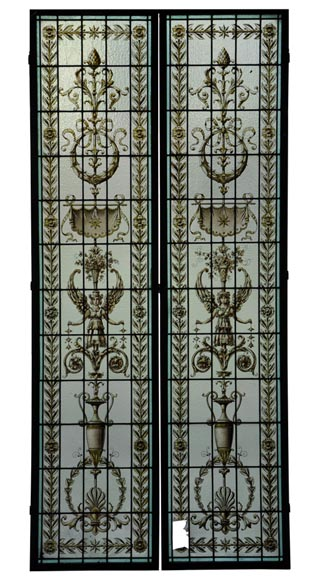 Pair of antique stained glass windows with Neo-Renaissance style decor, late 19th c.-0
