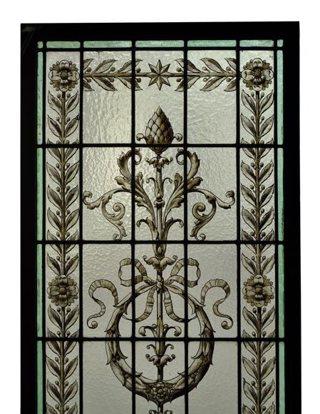 Pair of antique stained glass windows with Neo-Renaissance style decor, late 19th c.-1