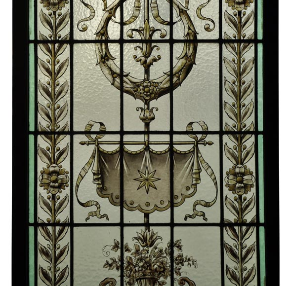 Pair of antique stained glass windows with Neo-Renaissance style decor, late 19th c.-2