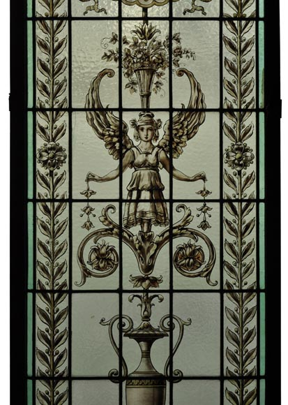Pair of antique stained glass windows with Neo-Renaissance style decor, late 19th c.-3