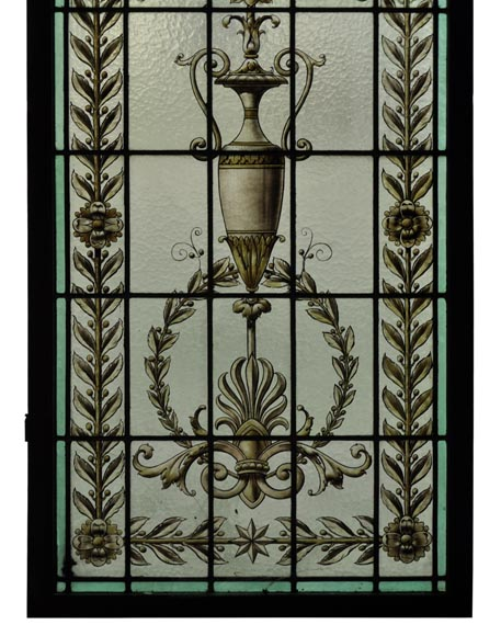Pair of antique stained glass windows with Neo-Renaissance style decor, late 19th c.-4