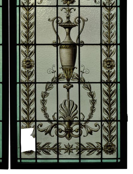 Pair of antique stained glass windows with Neo-Renaissance style decor, late 19th c.-5