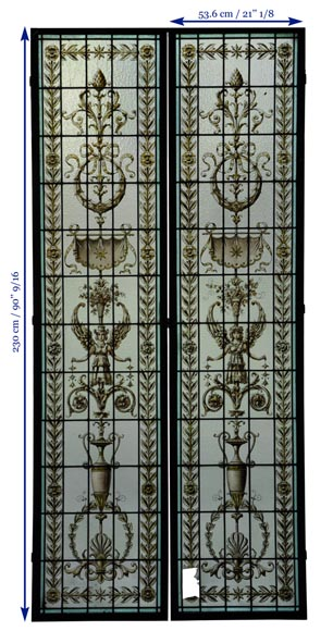Pair of antique stained glass windows with Neo-Renaissance style decor, late 19th c.-7