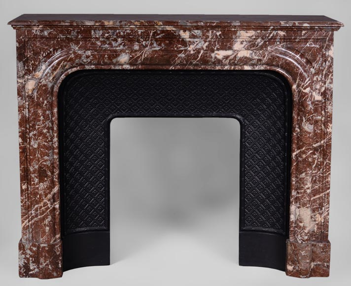 "Antique Louis XIV style ""Bollection"" fireplace in Red from the North marble with its cast iron insert - Reference 3186"
