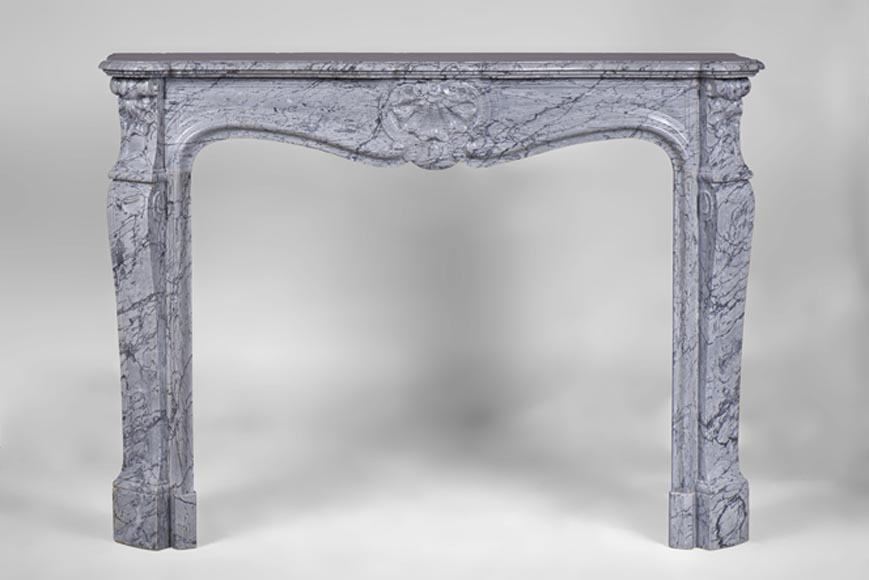 Beautiful antique Louis XV Style fireplace, in Bleu Fleuri marble, with three shells decor - Reference 3187