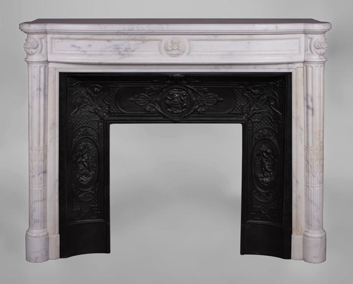 Beautiful antique Louis XVI style fireplace with fluted half-columns and pearls frieze in white Carrara marble-0