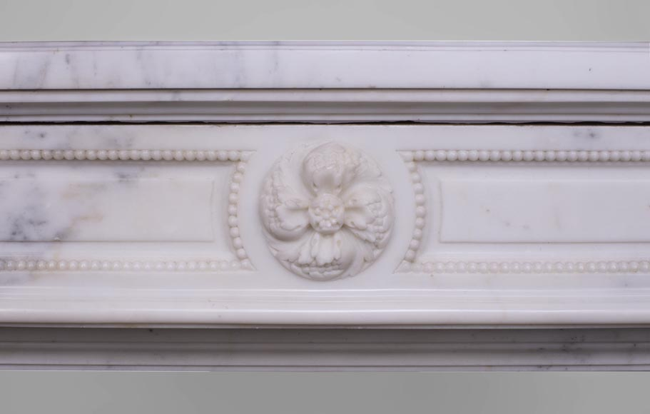 Beautiful antique Louis XVI style fireplace with fluted half-columns and pearls frieze in white Carrara marble-1