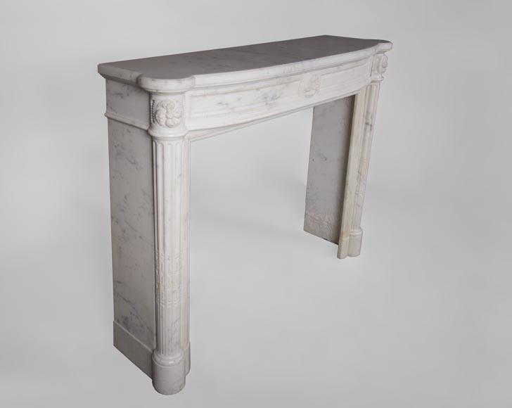 Beautiful antique Louis XVI style fireplace with fluted half-columns and pearls frieze in white Carrara marble-2