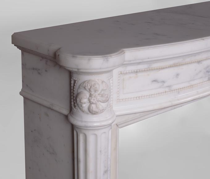 Beautiful antique Louis XVI style fireplace with fluted half-columns and pearls frieze in white Carrara marble-3
