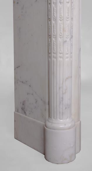 Beautiful antique Louis XVI style fireplace with fluted half-columns and pearls frieze in white Carrara marble-4