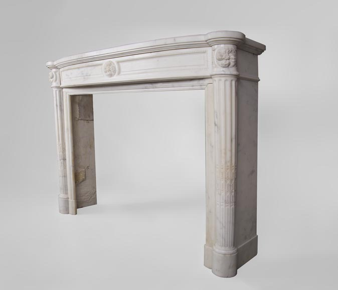 Beautiful antique Louis XVI style fireplace with fluted half-columns and pearls frieze in white Carrara marble-5