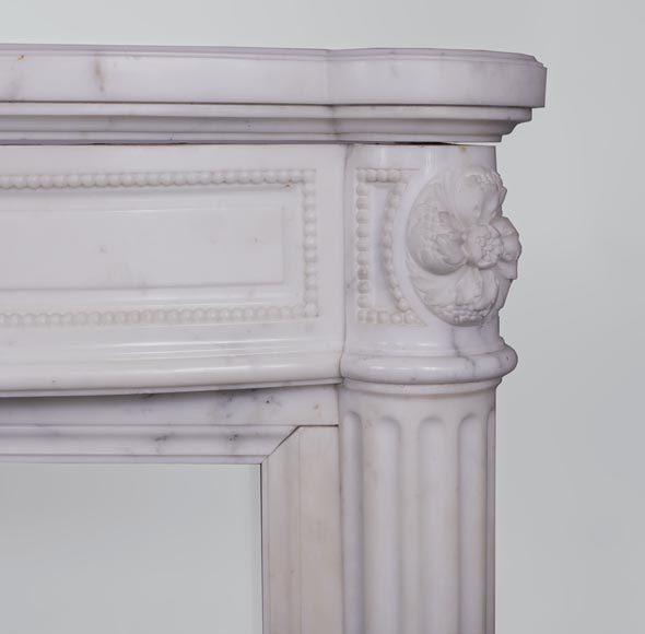 Beautiful antique Louis XVI style fireplace with fluted half-columns and pearls frieze in white Carrara marble-6